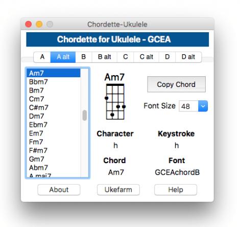 Chordette application showing ukulele chord library