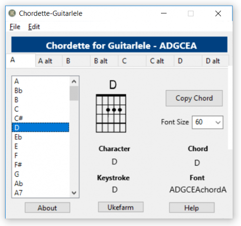 Chordette for Guitalele chords screenshot - available with Guitalele chord fonts for Mac and Windows.