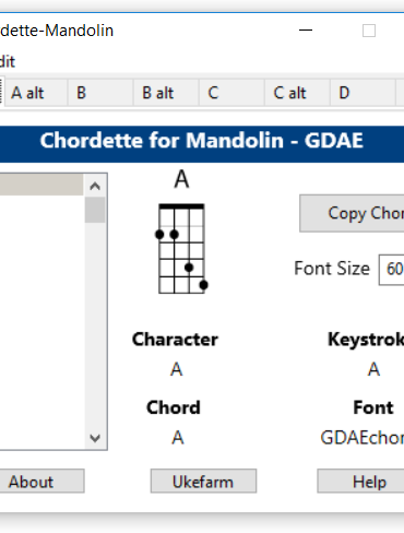 Chordette for Mandolin chords screenshot - available with Mandolin chord fonts for Mac and Windows.