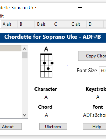Chordette for Soprano Uke chords screenshot - available with Soprano Ukulele chord fonts for Mac and Windows.